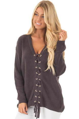 Charcoal V Neck Sweater with Lace Up Front front closeup