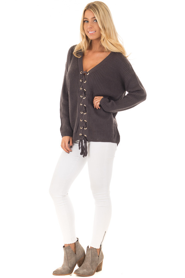 Charcoal V Neck Sweater with Lace Up Front front full body