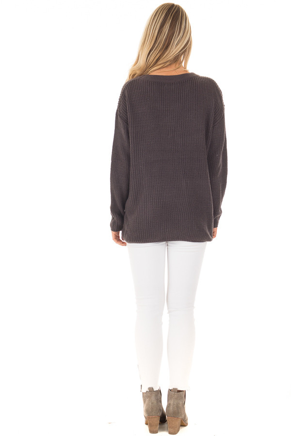 Charcoal V Neck Sweater with Lace Up Front back full body