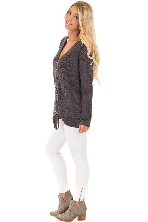 Charcoal V Neck Sweater with Lace Up Front side full body