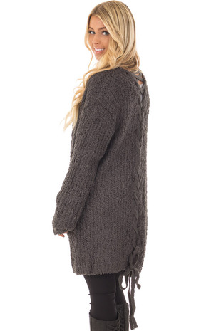 Charcoal Long Sleeve Lace Up Back Cardigan back closeup