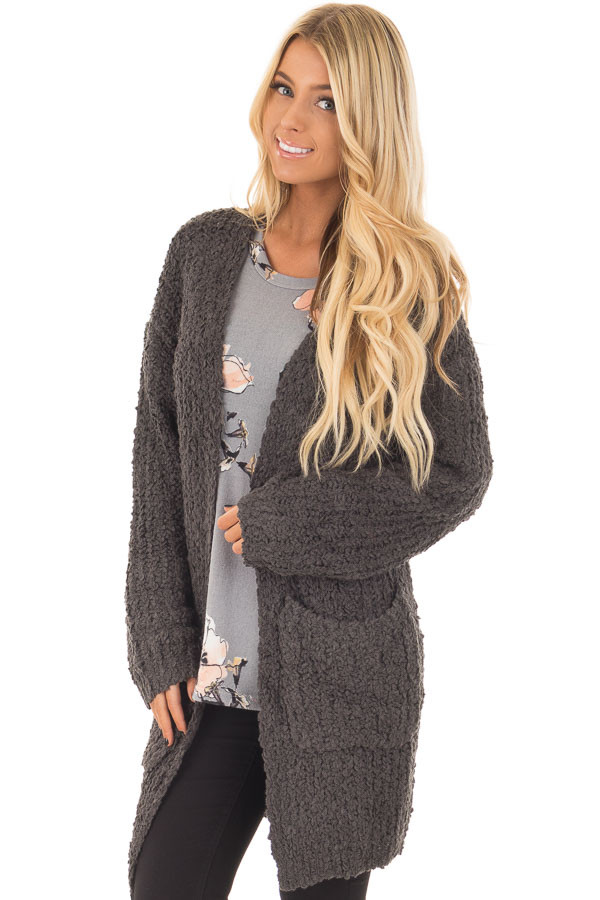 Charcoal Long Sleeve Lace Up Back Cardigan front closeup