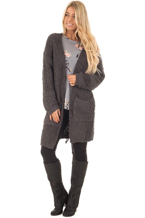 Charcoal Long Sleeve Lace Up Back Cardigan front full body