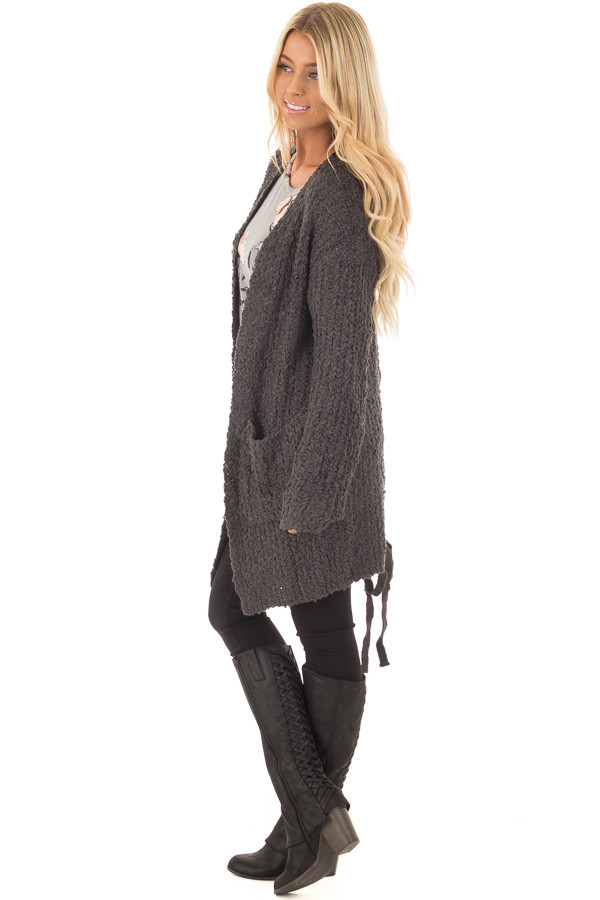 Charcoal Long Sleeve Lace Up Back Cardigan side full body