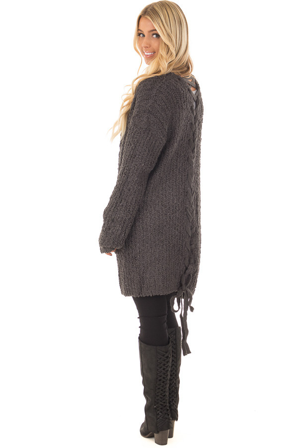 Charcoal Long Sleeve Lace Up Back Cardigan over the shoulder full body