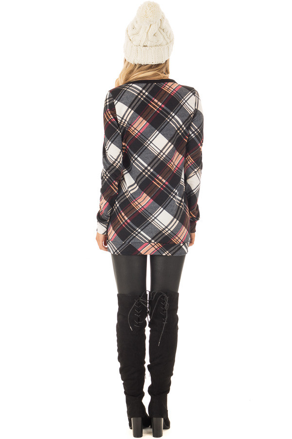 Black Long Sleeve Tee with Plaid Contrast back full body