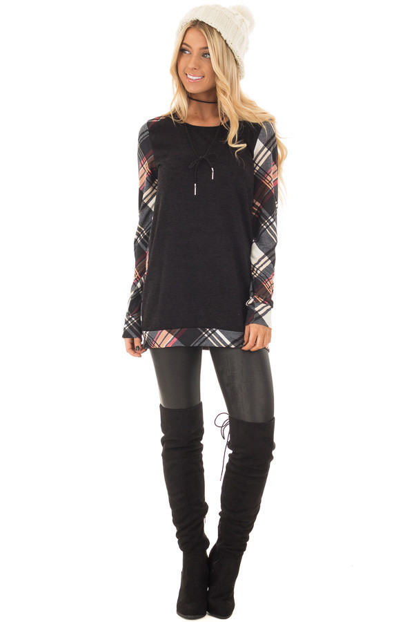 Black Long Sleeve Tee with Plaid Contrast front full body