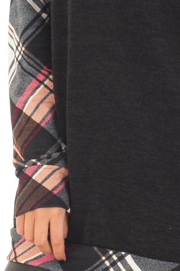 Black Long Sleeve Tee with Plaid Contrast front detail