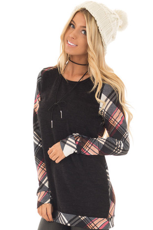 Black Long Sleeve Tee with Plaid Contrast front closeup