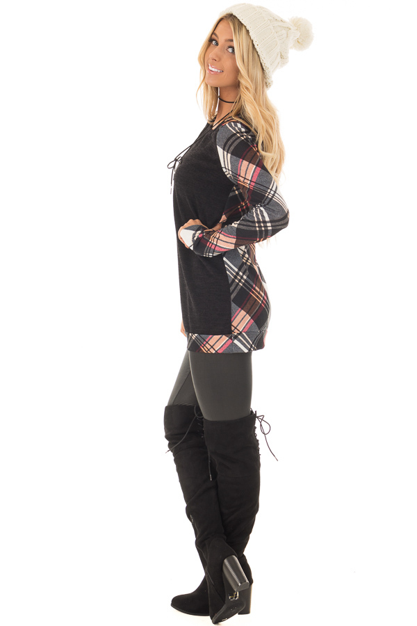 Black Long Sleeve Tee with Plaid Contrast side full body