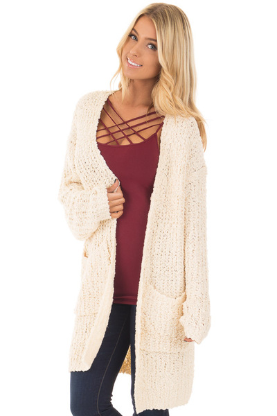 Cream Long Sleeve Lace Up Back Cardigan front closeup