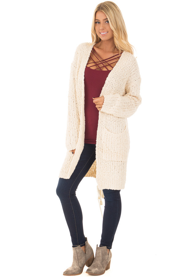 Cream Long Sleeve Lace Up Back Cardigan front full body