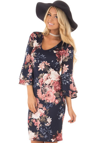Navy and Dusty Rose Floral Print Dress with Bell Sleeves front closeup