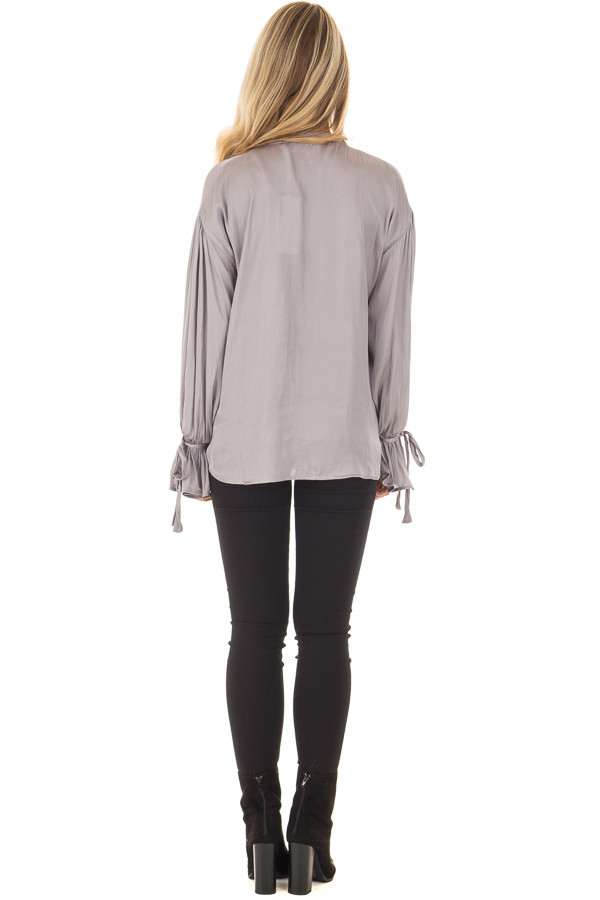 Grey Silky Long Sleeve Top with Tie Details back full body