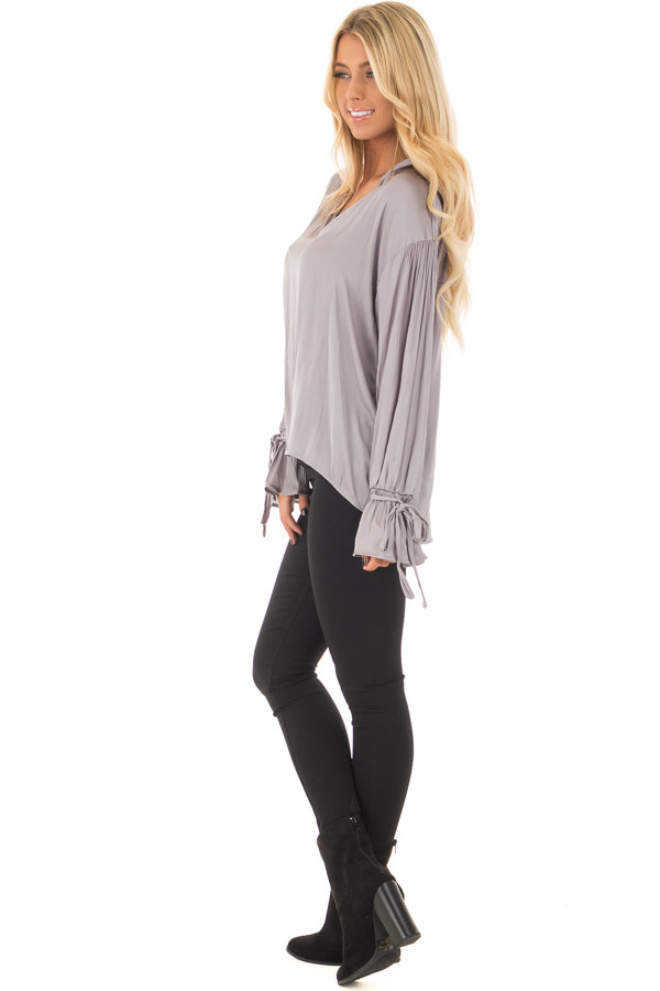 Grey Silky Long Sleeve Top with Tie Details side full body