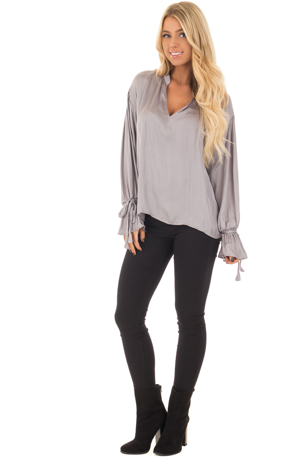 Grey Silky Long Sleeve Top with Tie Details front full body