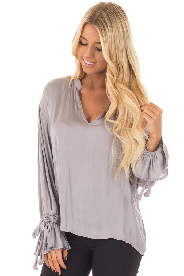 Grey Silky Long Sleeve Top with Tie Details front closeup