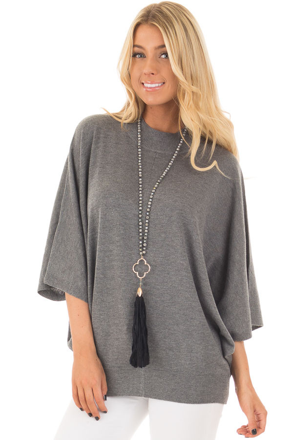 Grey Oversized Top with High Neckline and 3/4 Length Sleeves front closeup