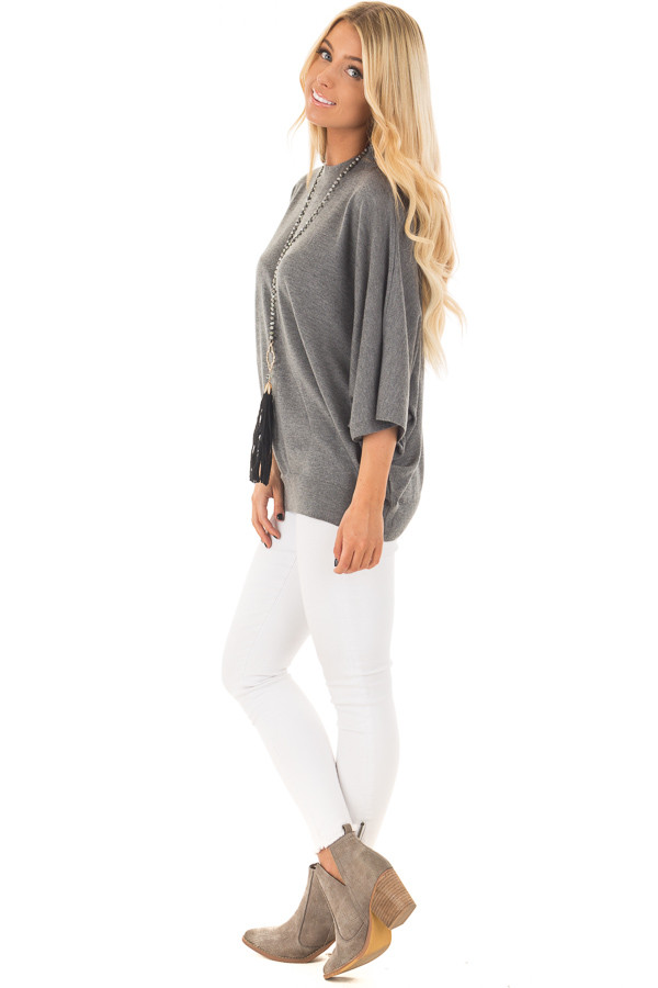 Grey Oversized Top with High Neckline and 3/4 Length Sleeves side full body