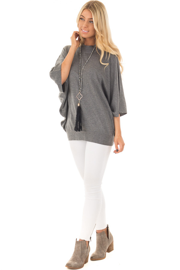 Grey Oversized Top with High Neckline and 3/4 Length Sleeves front full body
