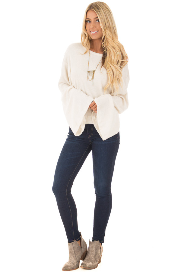 Cream Long Flowy Sleeve Top with Back Circle Tie Detail front full body