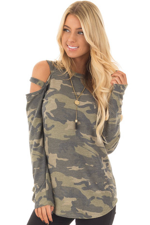 Camo Cold Shoulder Long Sleeve Tee front closeup