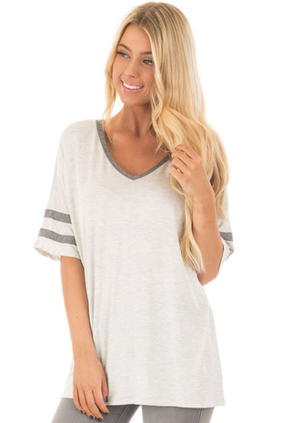 Oatmeal Comfy V Neck Top with Grey Striped Sleeve front closeup