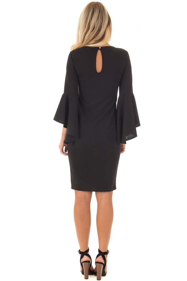 Black Form Fitting Dress with Flowy Sleeves back full body