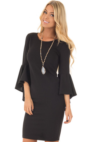 Black Form Fitting Dress with Flowy Sleeves front closeup