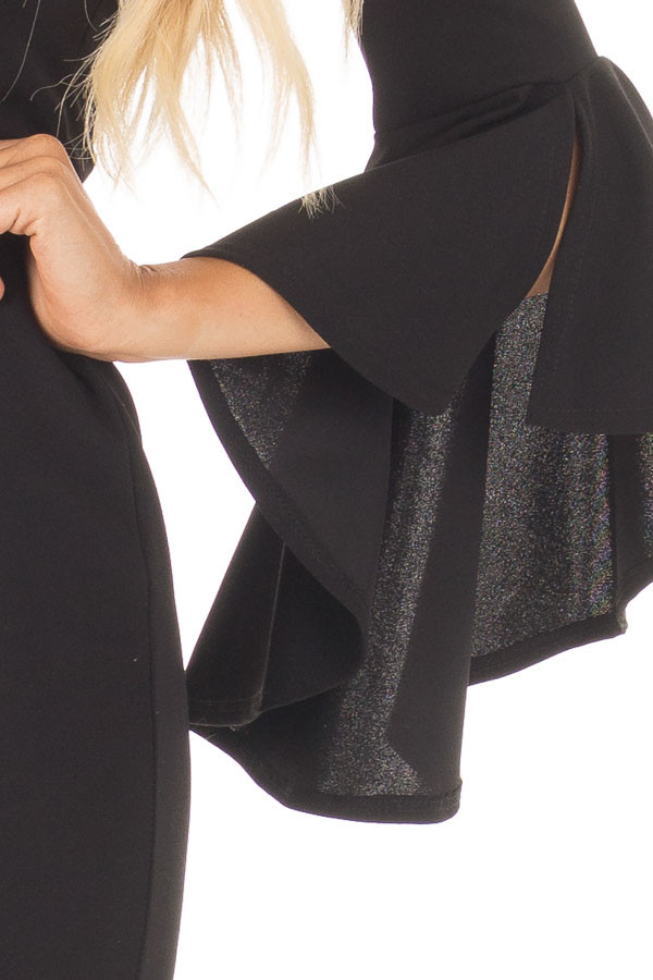 Black Form Fitting Dress with Flowy Sleeves front detail