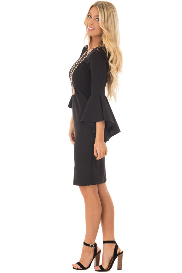 Black Form Fitting Dress with Flowy Sleeves side full body
