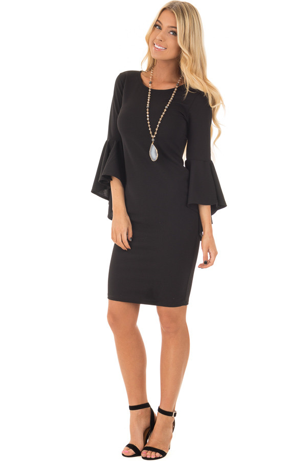 Black Form Fitting Dress with Flowy Sleeves front full body