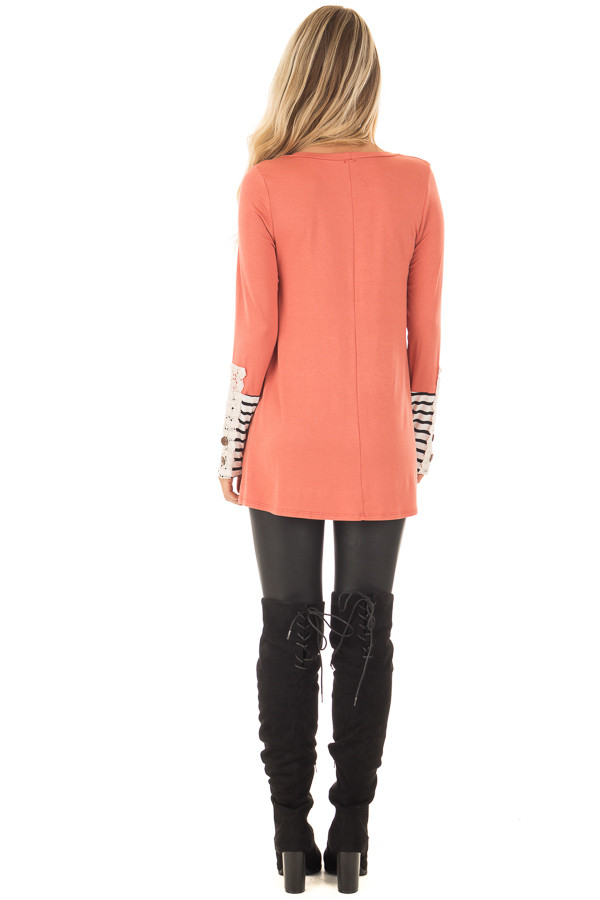 Coral Long Sleeve Top with Black and White Stripe Cuffs back full body