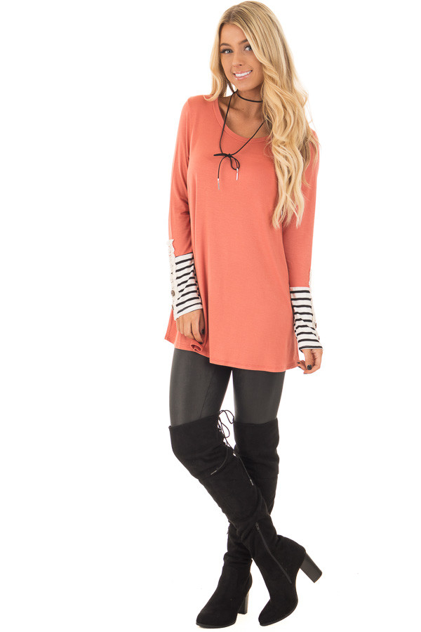 Coral Long Sleeve Top with Black and White Stripe Cuffs front full body