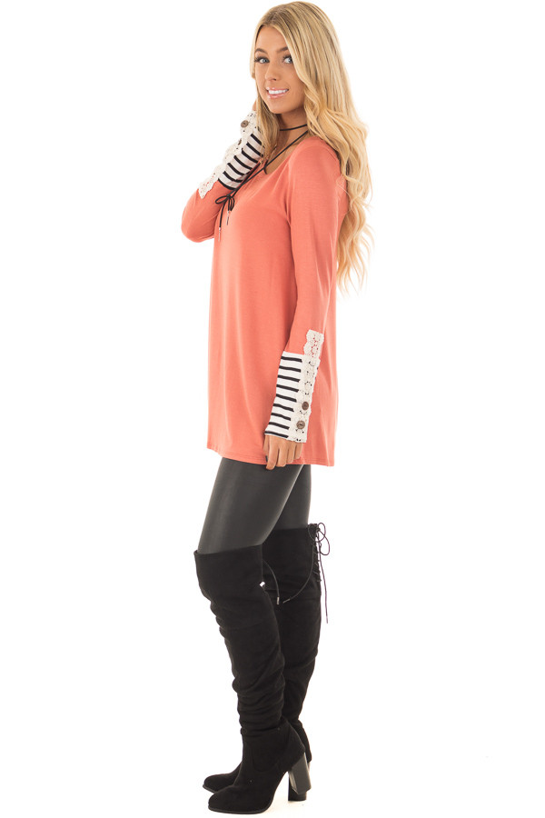 Coral Long Sleeve Top with Black and White Stripe Cuffs side full body
