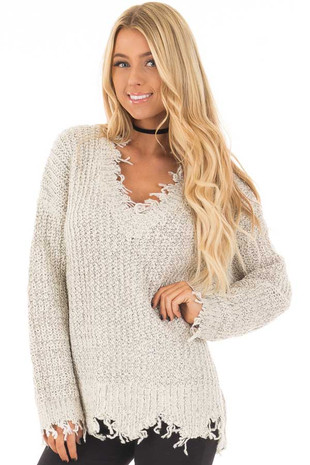 Oatmeal Long Sleeve Distressed Sweater front closeup