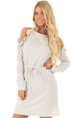 Heather Grey Cold Shoulder Dress with Ruffle Details front closeup