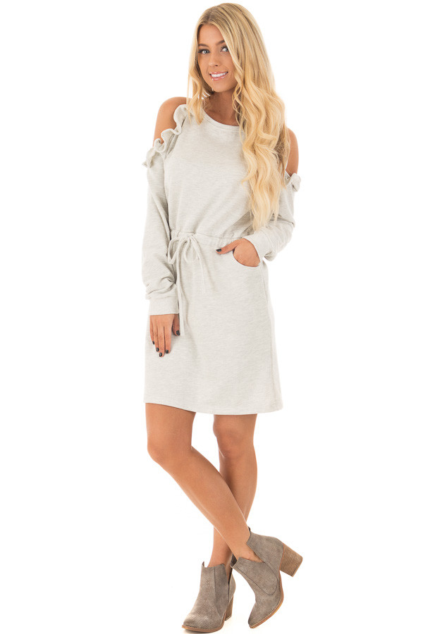 Heather Grey Cold Shoulder Dress with Ruffle Details front full body