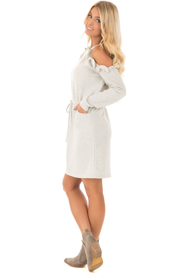 Heather Grey Cold Shoulder Dress with Ruffle Details side full body