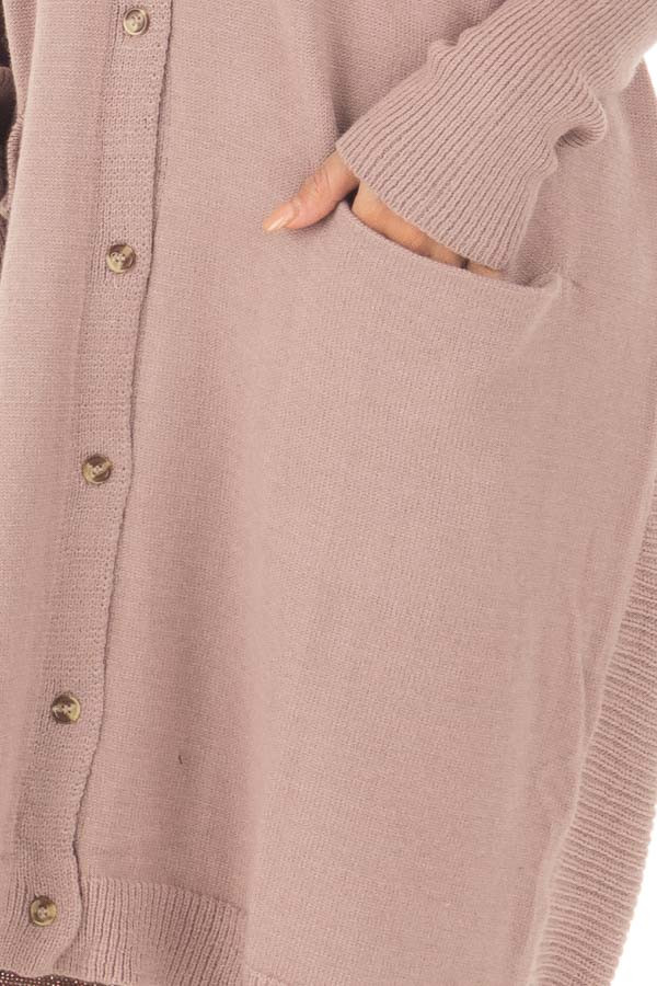 Coco Long Button Up Cardigan with Front Pockets front detail