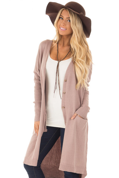 Coco Long Button Up Cardigan with Front Pockets front closeup
