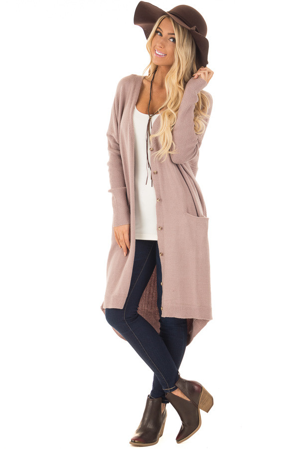 Coco Long Button Up Cardigan with Front Pockets front full body
