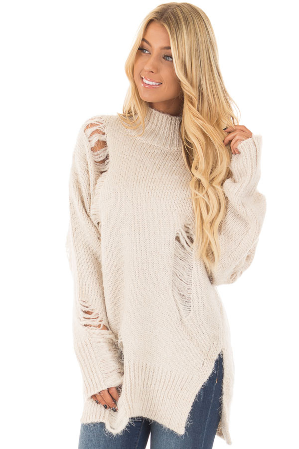 Cream Long Sleeve Distressed Mock Neck Sweater front closeup
