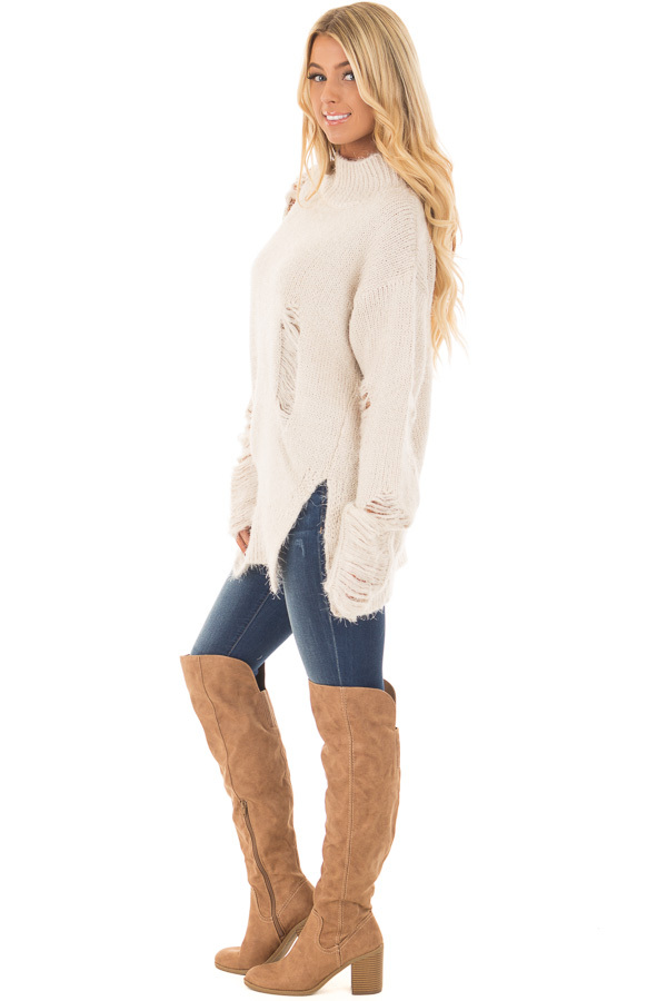 Cream Long Sleeve Distressed Mock Neck Sweater front full body