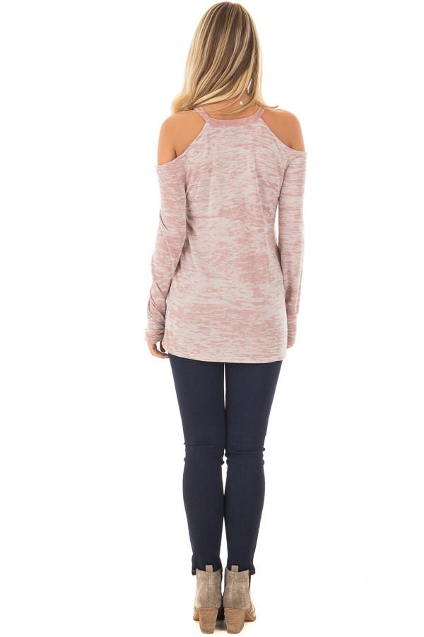 Blush Two Tone Cold Shoulder Long Sleeve Top back full body
