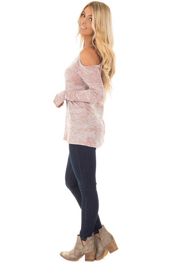 Blush Two Tone Cold Shoulder Long Sleeve Top side full body