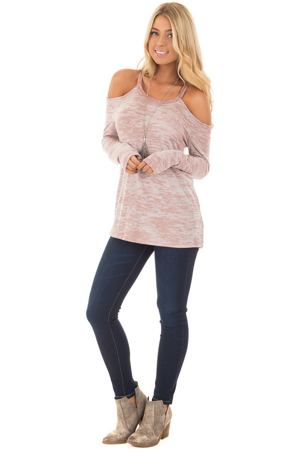 Blush Two Tone Cold Shoulder Long Sleeve Top front full body