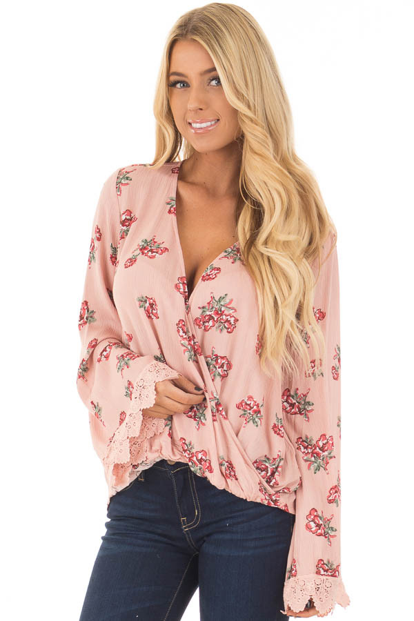 Blush Hi Low Floral Bell Sleeve with Cross Over V Neckline front closeup