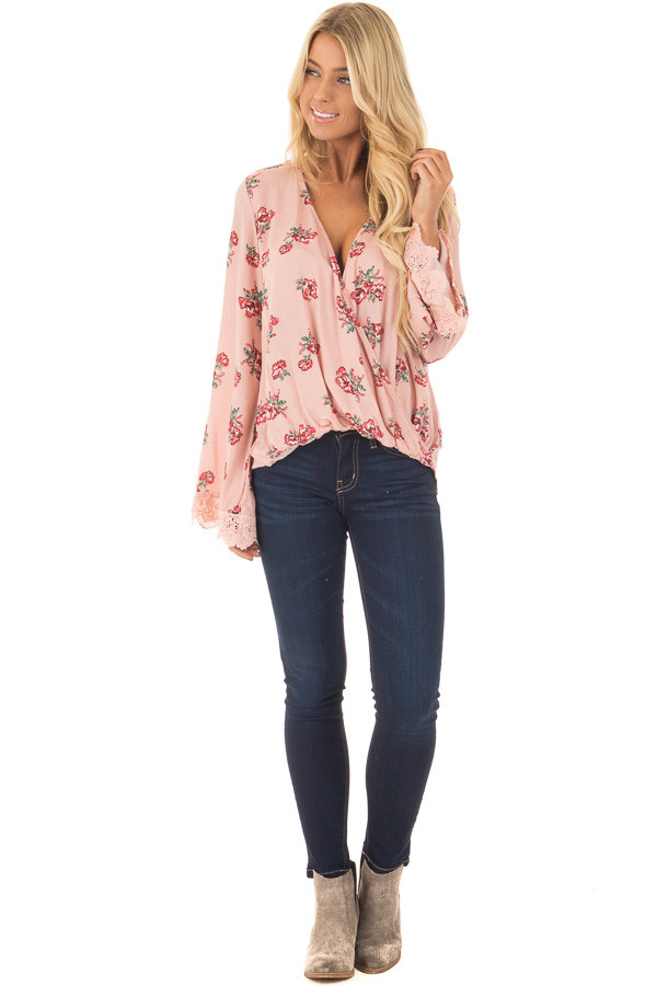 Blush Hi Low Floral Bell Sleeve with Cross Over V Neckline front full body