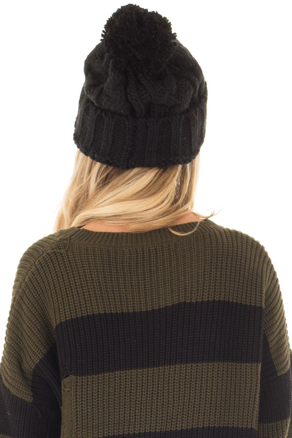 Black Pom Pom Cable Knit Beanie back